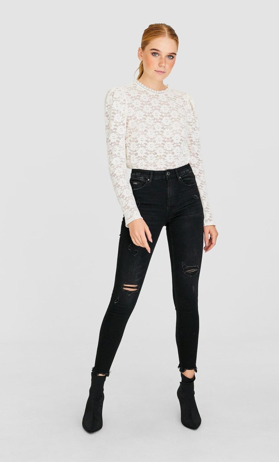jeans de tiro alto negros