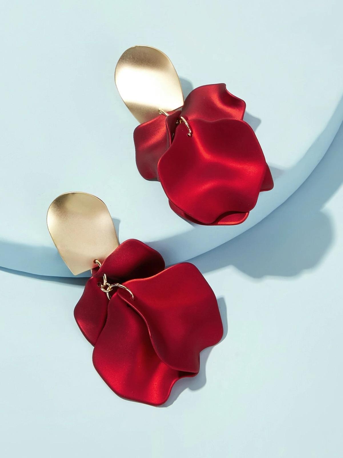 pendientes de pétalo de rosa shein
